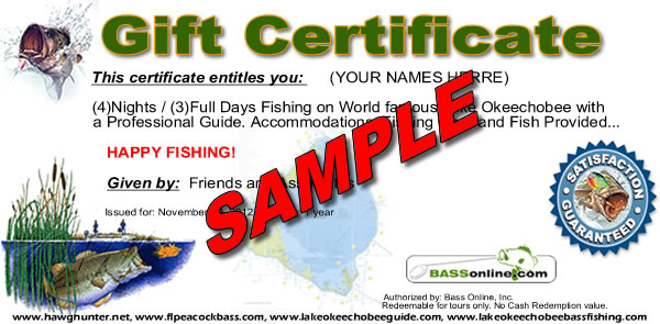 Lake Okeechobee fishing gift certificate